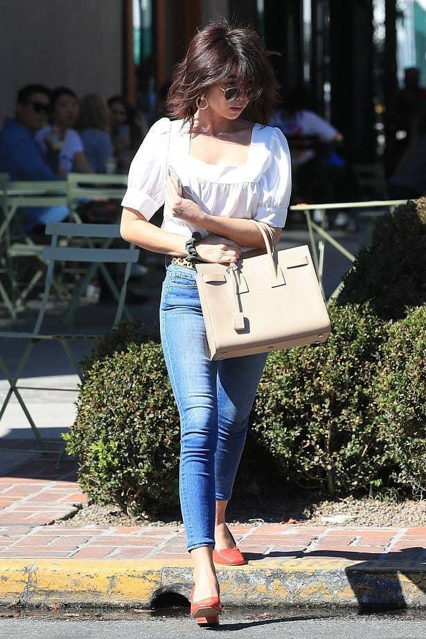 top denim jeans white top spring outfits celebrity sarah hyland