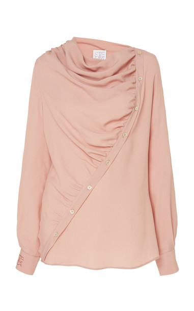 Stella Jean Draped Button-Detailed Crepe Blouse Size: 42 in pink