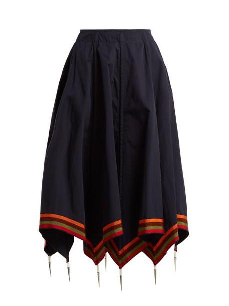 Jw Anderson - Handkerchief Hem Cotton Skirt - Womens - Navy