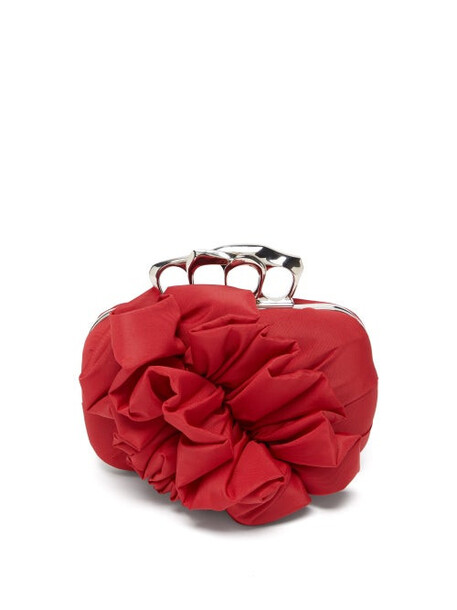 Alexander Mcqueen - Four Ring Ruffled Box Clutch - Womens - Red