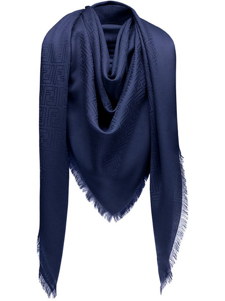 Fendi monogram print scarf in blue