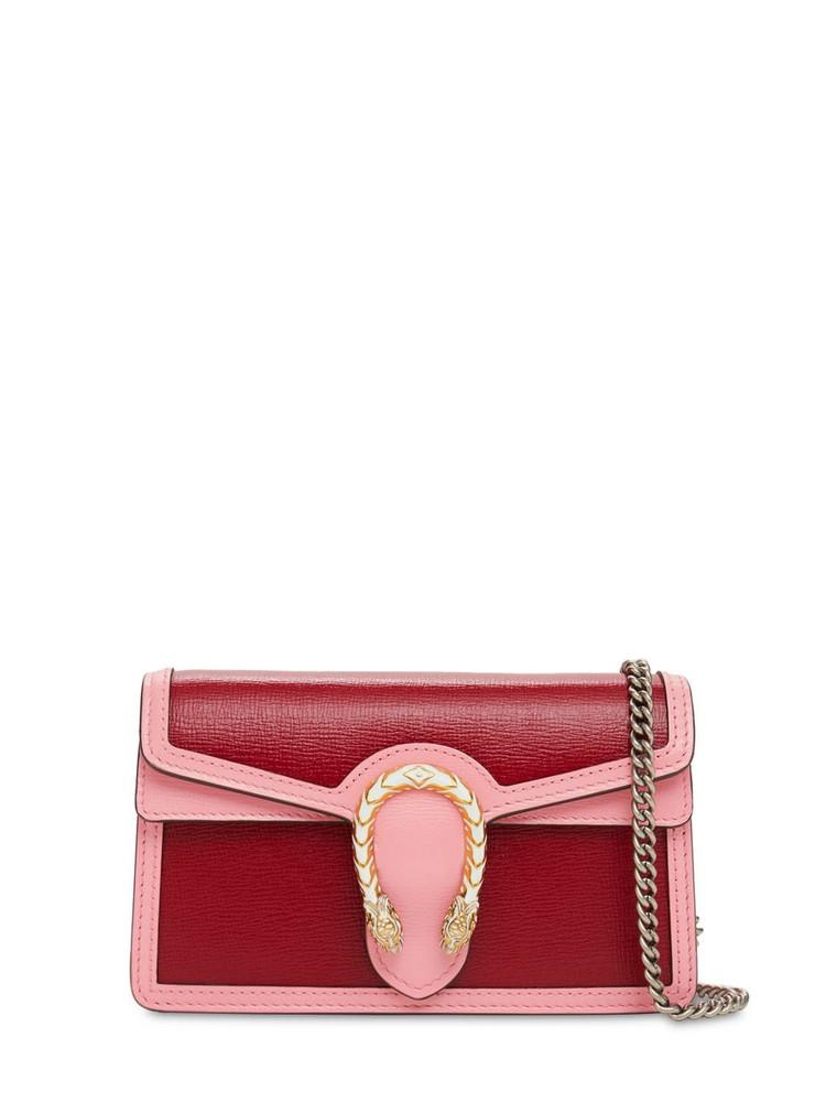 GUCCI Dionysus Super Mini Leather Shoulder Bag in pink / red