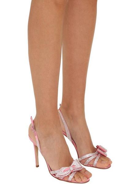 ALESSANDRA RICH 105mm Embellished Satin Sandals in pink