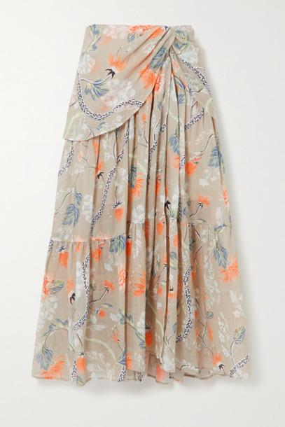 Chloé Chloé - Ruched Floral-print Ramie Midi Skirt - Green