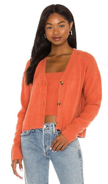 One Grey Day Skylar Cardigan in Orange in saffron
