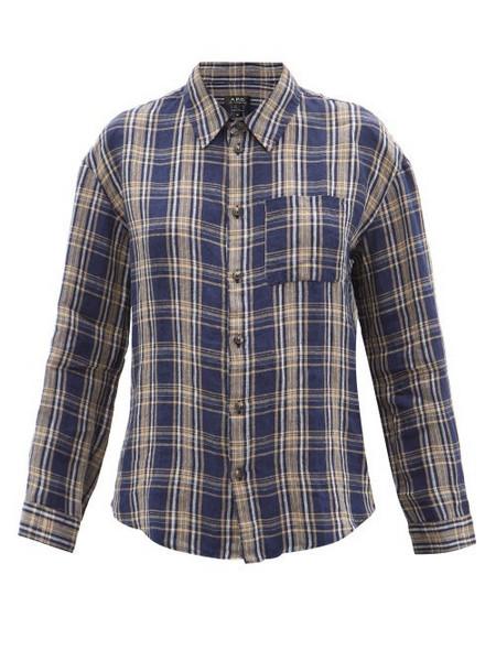 A.P.C. A.P.C. - Boyfriend Plaid Linen Shirt - Womens - Navy