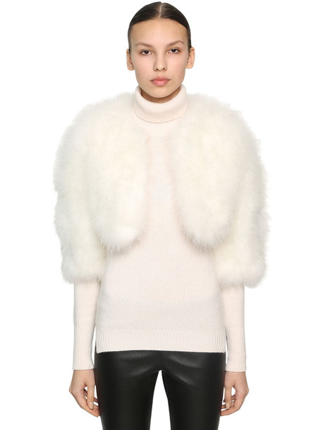 YVES SALOMON Cropped Feather Jacket in white