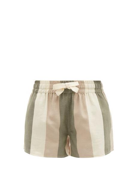 Marrakshi Life - Striped Cotton-canvas Shorts - Womens - Khaki