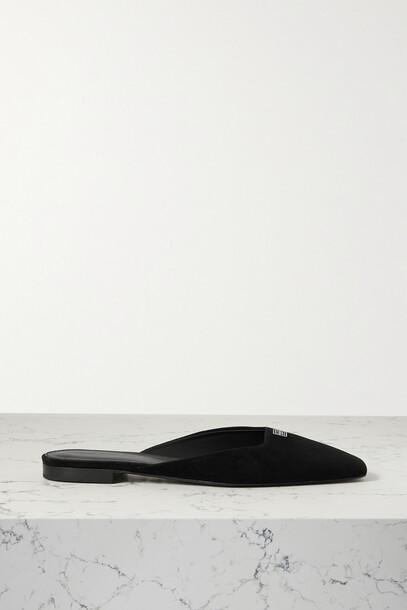 Totême - Embellished Suede Mules - Black
