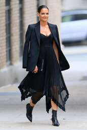 dress,all black everything,asymmetrical,asymmetrical dress,katie holmes,celebrity,fashion week