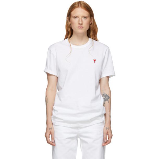 AMI Alexandre Mattiussi White Ami de Coeur T-Shirt