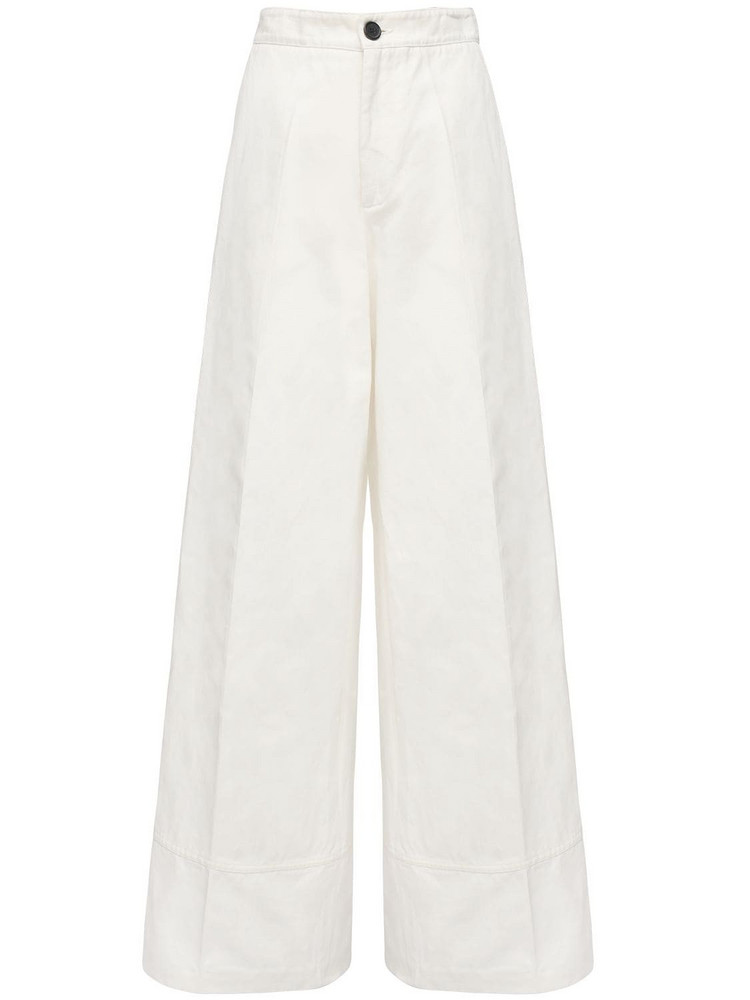 COLVILLE Cotton & Linen Twill Wide Leg Pants in white