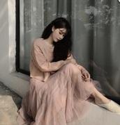 skirt,flowy skirt,long skirt,mesh skirt,korean skirt,pastel pink
