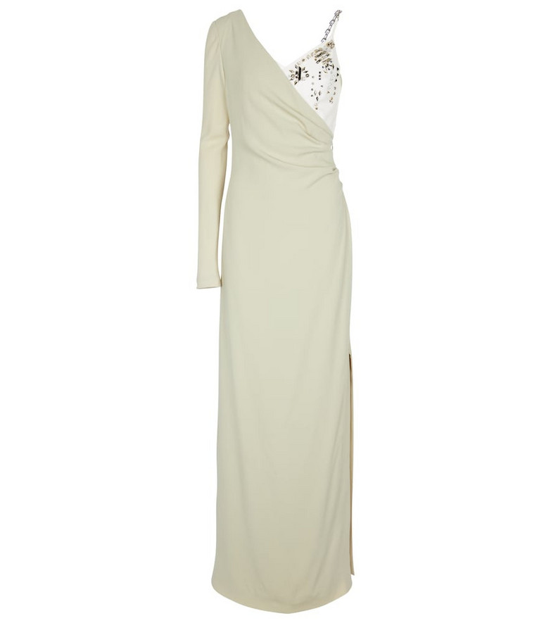 Givenchy Embellished satin-back crêpe gown in white