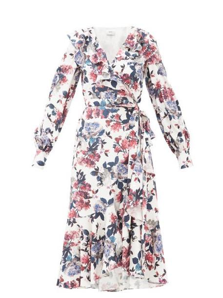 Erdem - Jerridine Floral-print Ruffled Satin Wrap Dress - Womens - White Multi