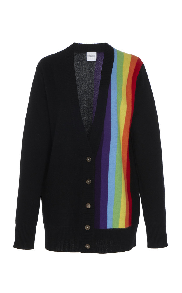 Madeleine Thompson Typhon Multicolor Striped Cashmere Cardigan in black