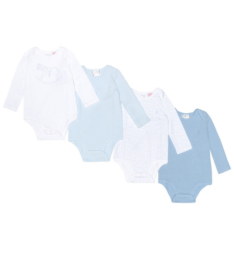 Polo Ralph Lauren Kids Baby set of four cotton playsuits in blue