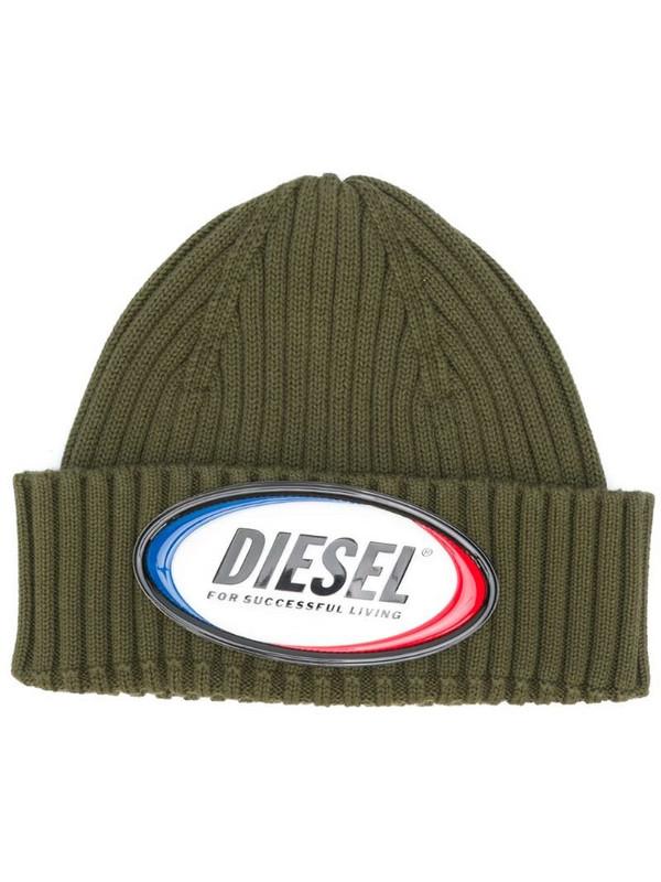 Diesel logo patch beanie in green