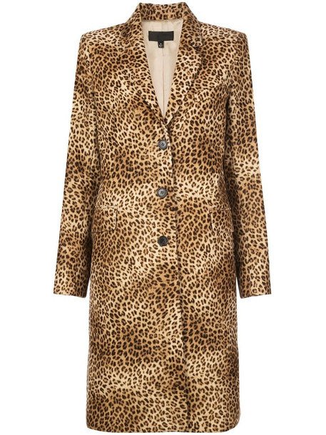 Nili Lotan leopard print single breasted coat in brown