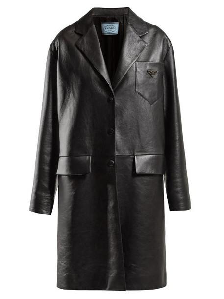 Prada - Logo Plaque Single Breasted Leather Coat - Womens - Black