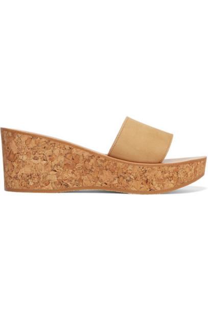 K Jacques St Tropez - Kirielle Nubuck Wedge Sandals - Beige