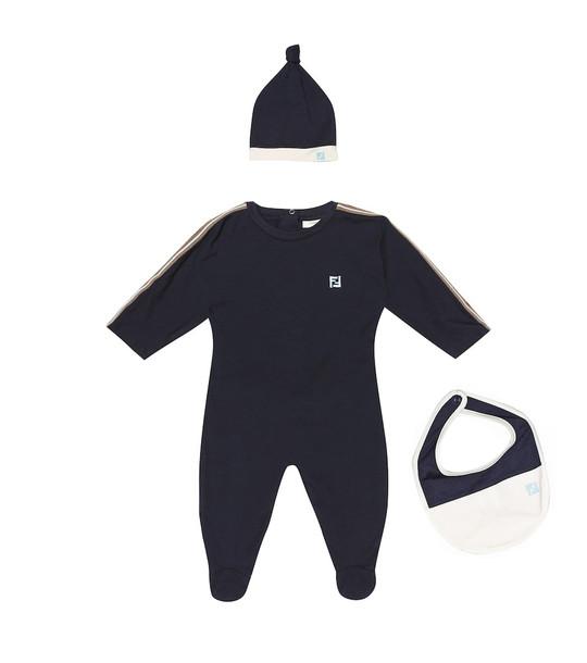 Fendi Kids Stretch-cotton onesie, hat and bib set in blue