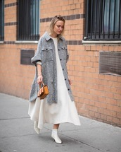 coat,oversized coat,grey coat,isabel marant,white boots,ankle boots,white dress,midi dress,brown bag,handbag