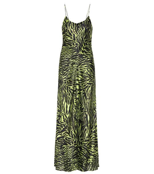 Ganni Tiger-printed stretch-silk dress in green