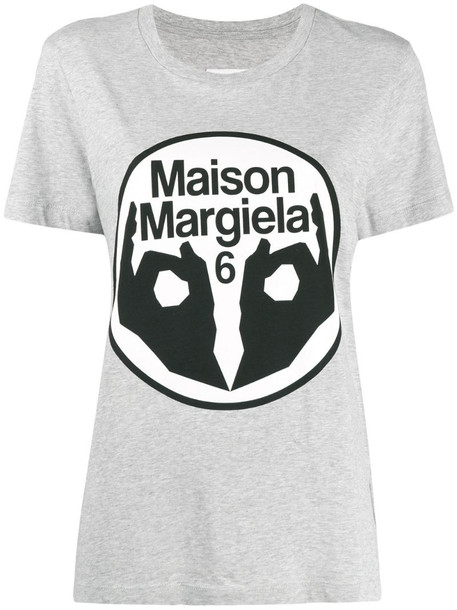 MM6 Maison Margiela logo print T-shirt in grey