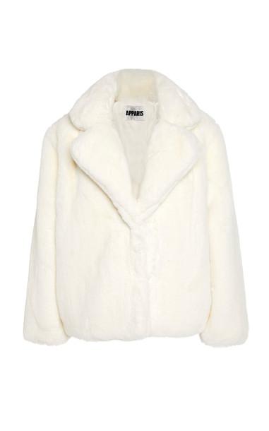 Apparis Manon Faux-Fur Coat Size: S in white