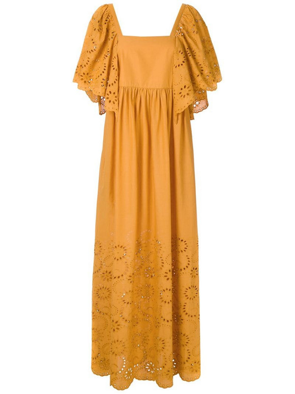 Andrea Marques tiered ruffle dress in yellow