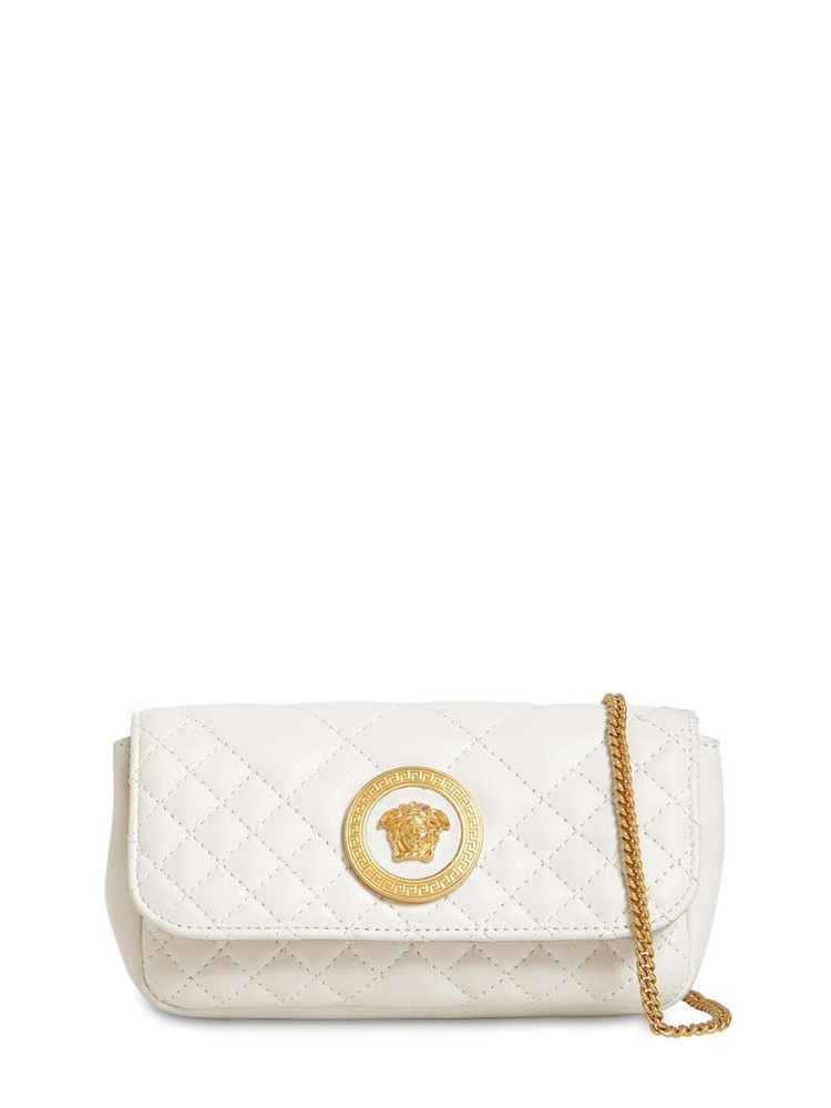 VERSACE Mini Icon Quilted Leather Shoulder Bag in white