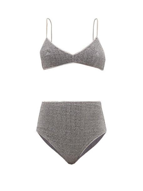 Oseree - Lumière High Rise Metallic Bikini - Womens - Grey