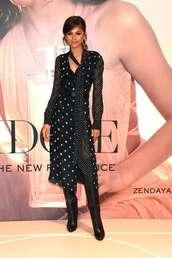 dress,midi dress,zendaya,celebrity,polka dots