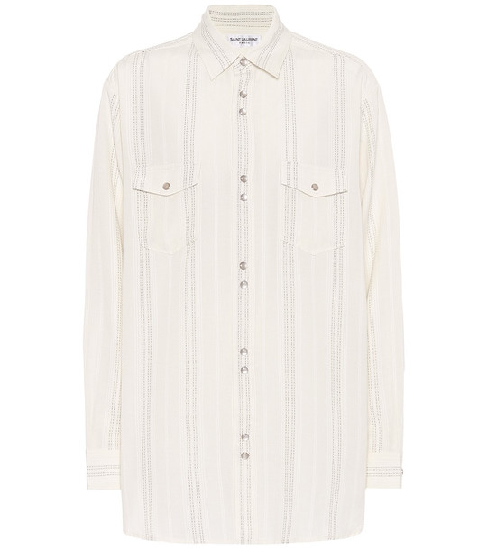 Saint Laurent Striped twill shirt in white