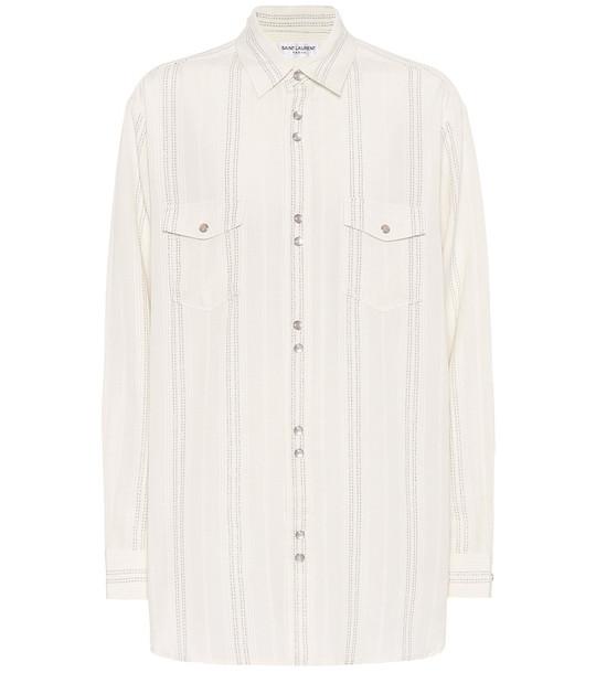 Saint Laurent Striped twill shirt in white