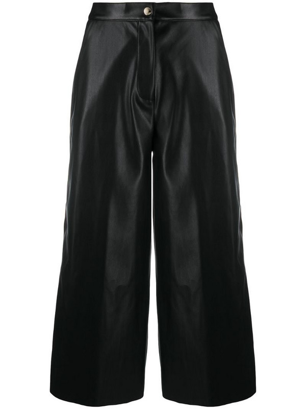 Semicouture faux leather culotte trousers in black