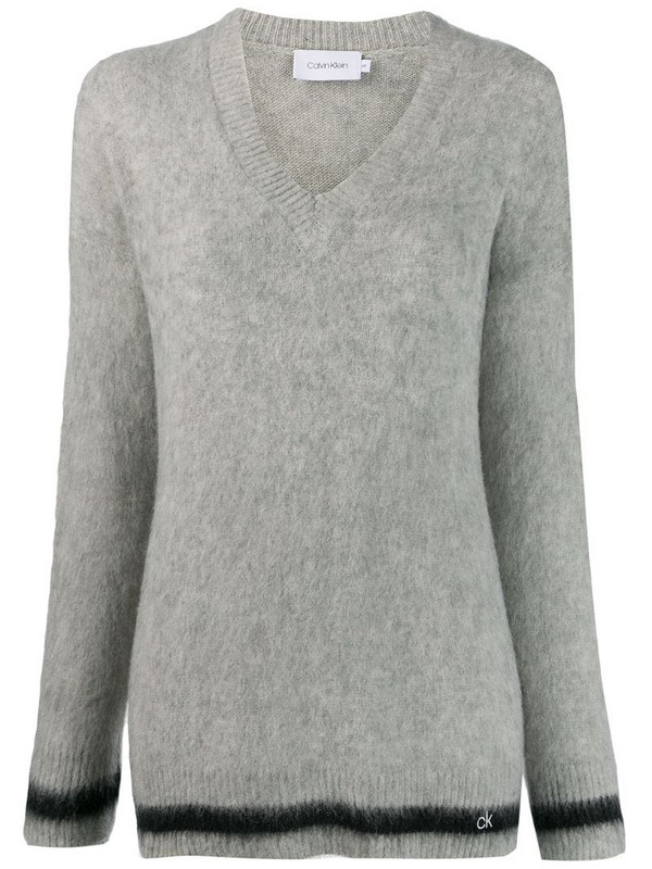 Calvin Klein contrasting stripe jumper in grey
