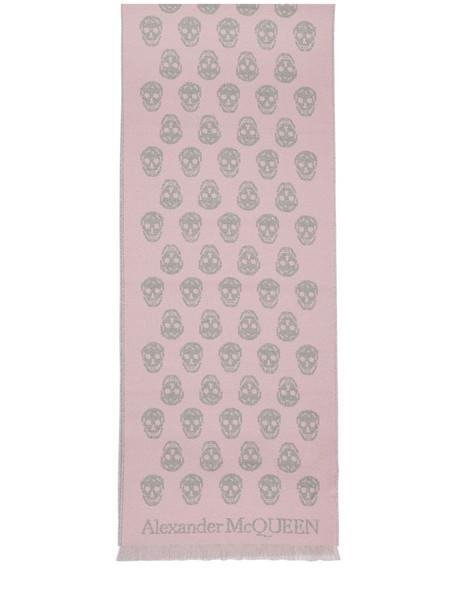 ALEXANDER MCQUEEN Reversible Skull Wool Scarf in grey / pink
