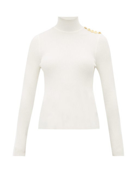 Alexandre Vauthier - Buttoned High Neck Wool Blend Sweater - Womens - White