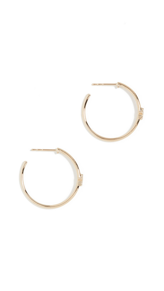 EF Collection 14k Diamond Star Essential Hoop Earrings in gold / yellow