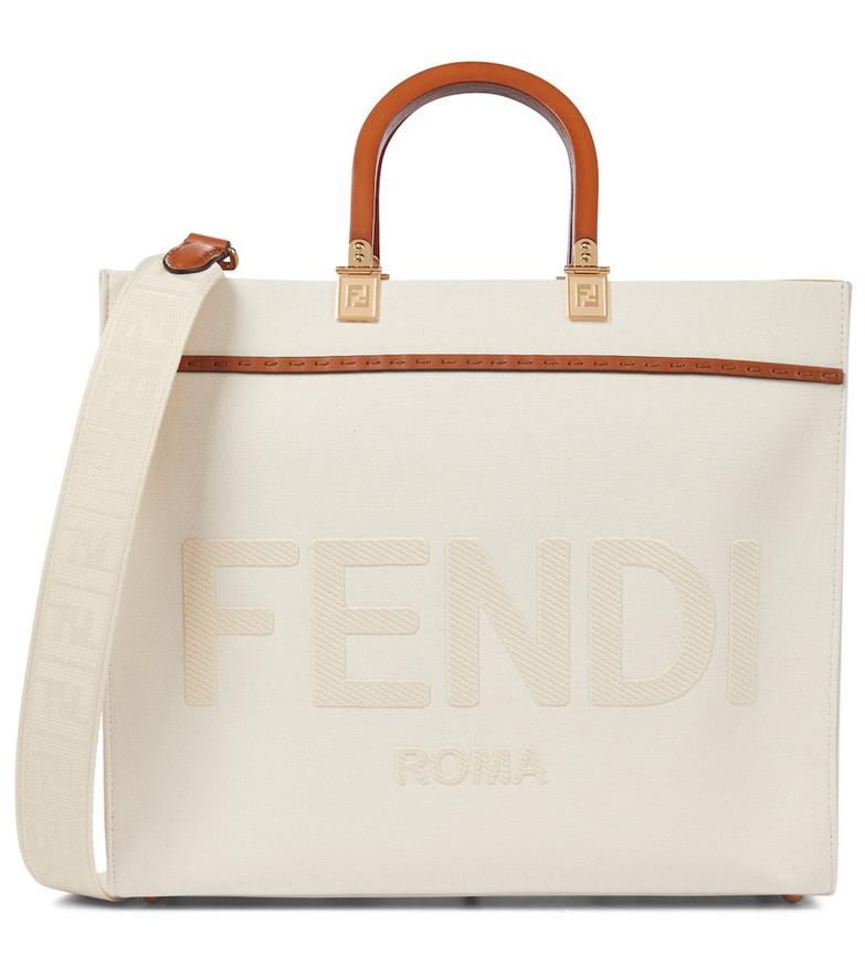 Fendi Sunshine Medium canvas shopper in white