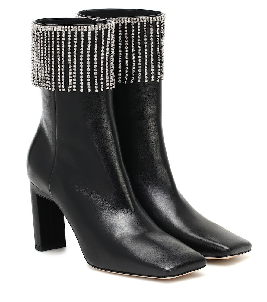 Wandler Exclusive to Mytheresa – Isa embellished leather ankle boots in black