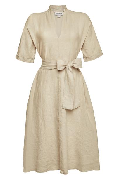 Velvet Midi Dress  in beige