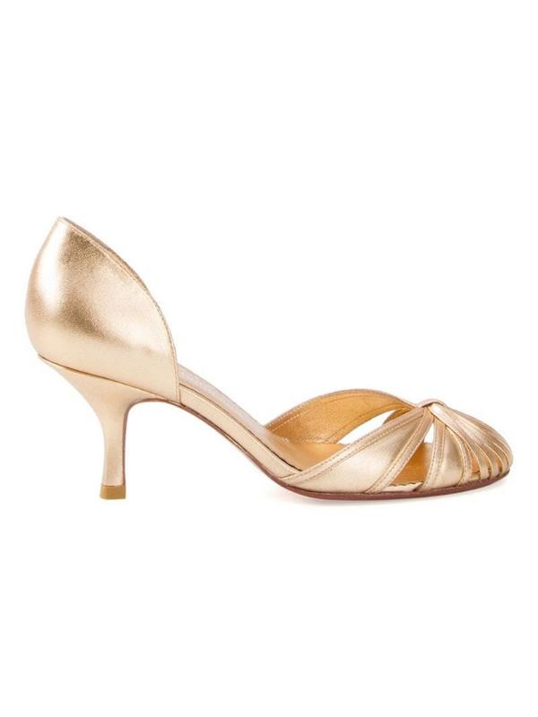 Sarah Chofakian round-toe pumps in metallic