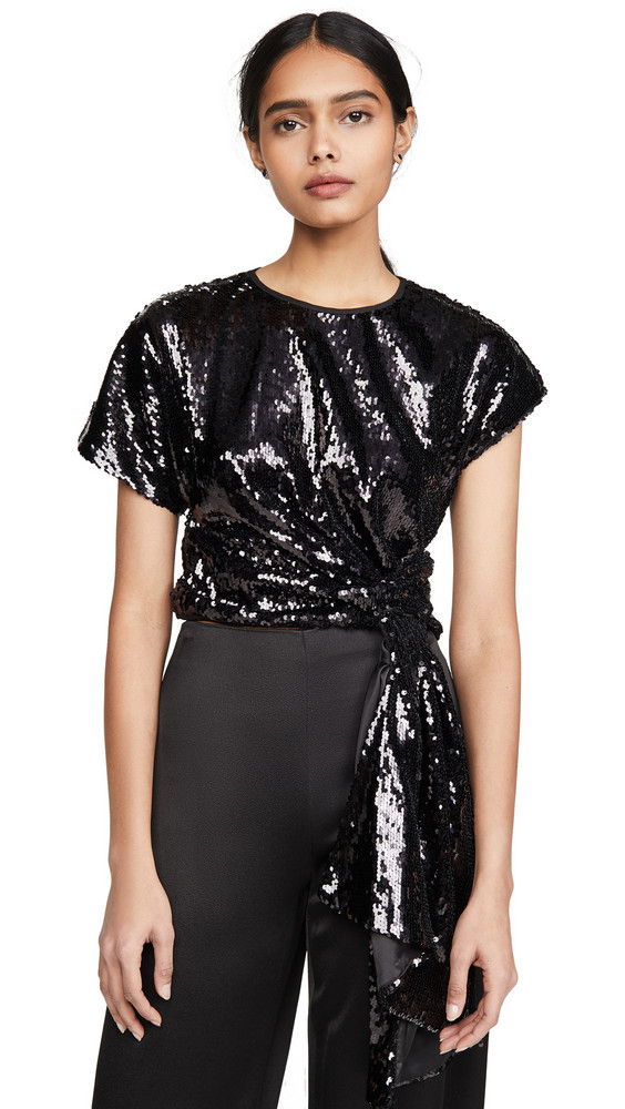 Alice McCall Electric Orchid Sequined Top in black