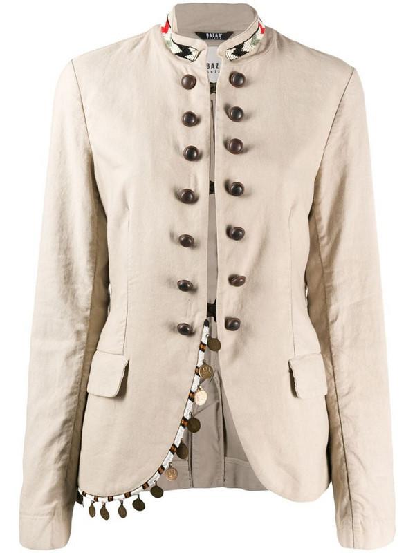 Bazar Deluxe beaded mock-neck jacket in neutrals