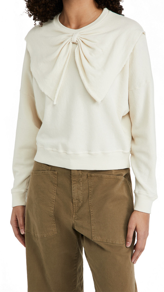 THE GREAT. THE GREAT. The Bow Sweatshirt in white