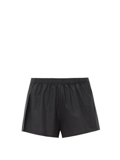 Rossell England - Wrap Poplin Pyjama Shorts - Womens - Black