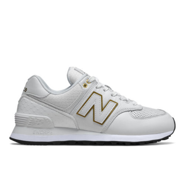 New Balance 574 Women's US Site Exclusions Shoes - White/Gold (WL574LDE)
